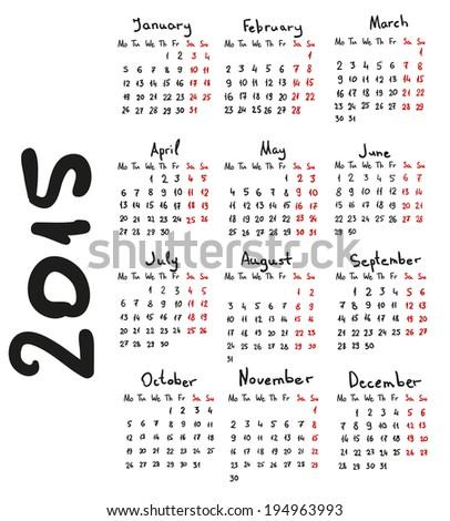 2015 hand drawn european calendar. Vector eps10 - stock vector
