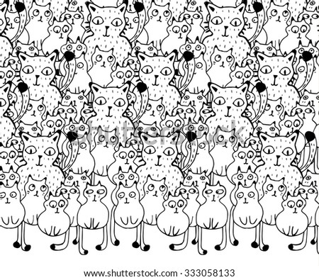 Hand drawn funny Cats - stock vector