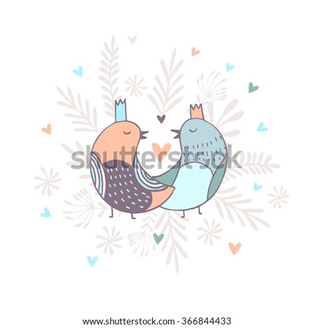 Hand drawn illustration, Cute  sweet birds with text I love you. - stock vector