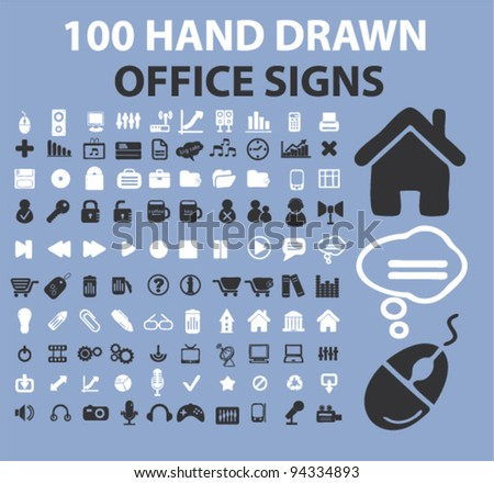 100 hand drawn office icons, signs, vector - stock vector