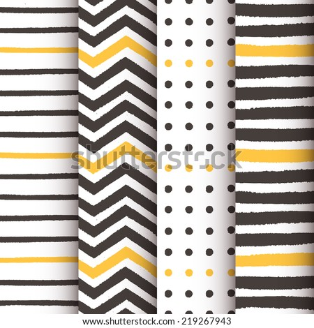 4 hand drawn painted geometric patterns set - stock vector