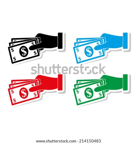 hand holding money icon - icon vector - stock vector