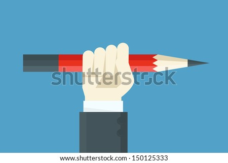 hand holding pencil - stock vector