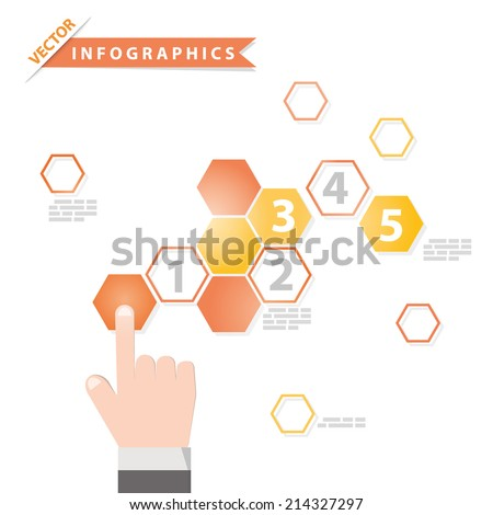 Hand pushing button.Colorful vector design for workflow layout,presentation template, diagram, number options, web design, infographics. - stock vector