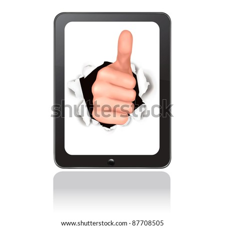Hand with thumb up breaking through touchpad. Conceptual illustration of success. Vector. - stock vector