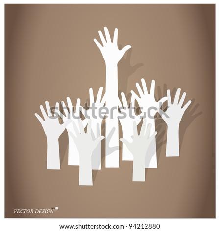 Hands volunteering or voting. Vector Illustration. - stock vector