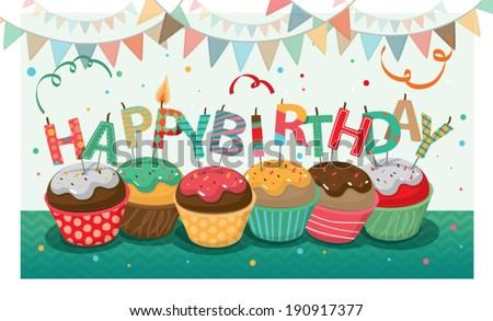'Happy birthday' candle design - stock vector