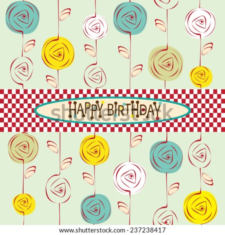 Happy Birthday Card with Flowers. Editable vector illustration - stock vector