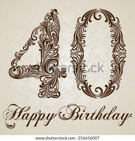 Happy birthday card with number forty. Vector Design Background. Swirl Style Illustration. - stock vector