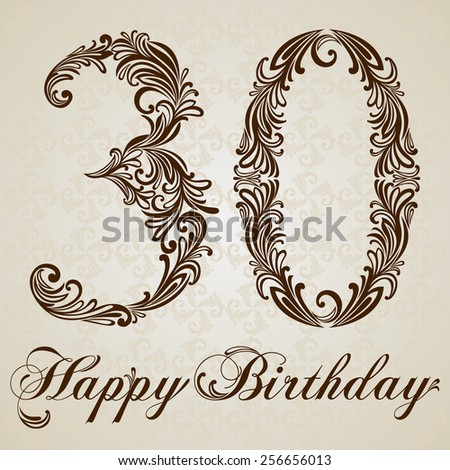 Happy birthday card with number thirty. Vector Design Background. Swirl Style Illustration. - stock vector