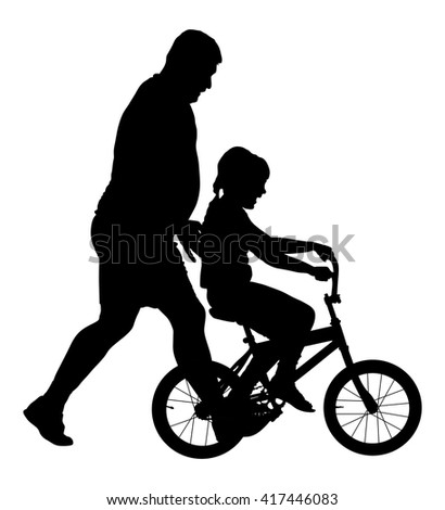 Happy caring father teaching his small young pretty daughter riding a bicycle vector silhouette illustration isolated on white background. Dad teaches his daughter to ride a bike. Fathers day. - stock vector