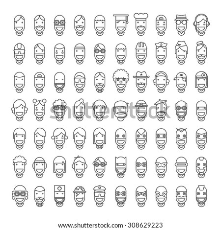 70 Happy Character People Icons - Male, Female, Professions, Superheroes. Line Design, Vector illustration - stock vector