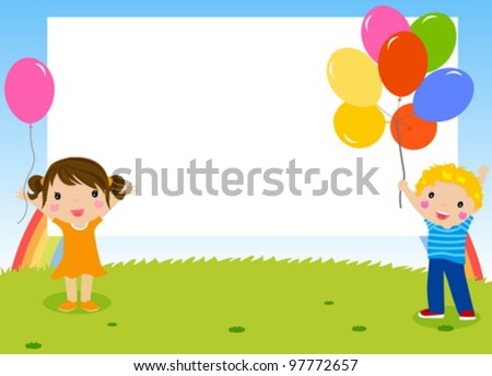 Happy children. Kids frame. Place for your text. - stock vector