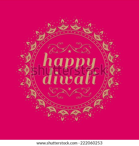 'Happy Diwali' message in english with round border made with traditional lamp motif. - stock vector