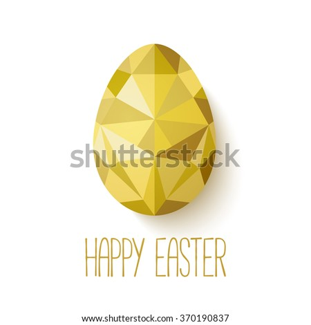 Happy Easter greeting card in low poly triangle style.  Flat design polygon of golden egg isolated on white background. Vector illustration. Perfect for greeting card or elegant party invitation. - stock vector