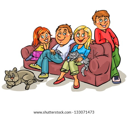 Happy family members on sofa, isolated, hand drawn sketch - stock vector
