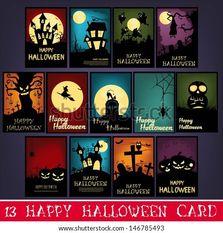 13 Happy Halloween Cards - stock vector