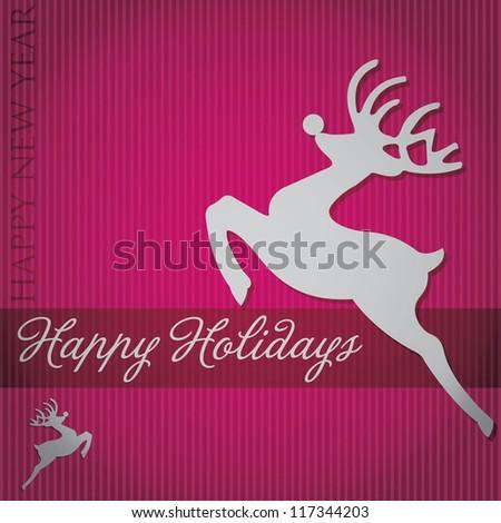 """Happy Holidays"" tree card in vector format. - stock vector"