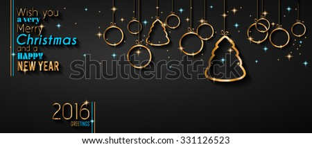 2016 Happy New Year Background for your Flyers and Greetings Card. Ideal to use for parties invitation, Dinner invitation, Christmas Meeting events and so on. - stock vector