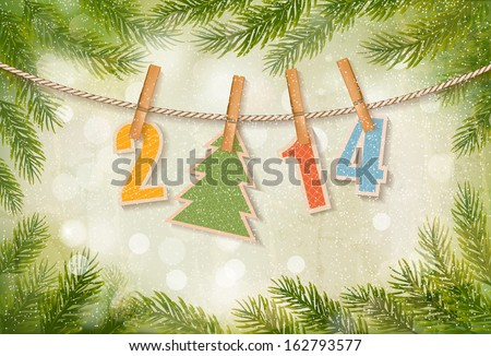 2014 Happy New Year background. Vector  - stock vector