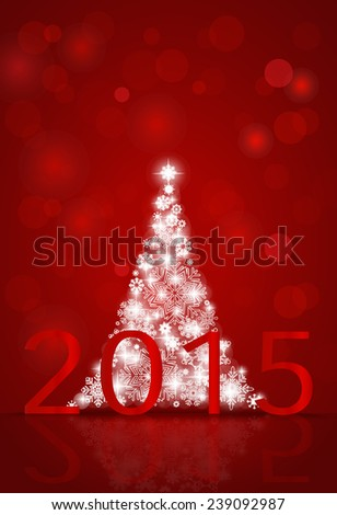 2015 Happy New Year background with Christmas tree. Vector illustration. - stock vector