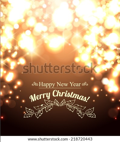 Happy New Year-Beautiful golden celebration background vector - stock vector