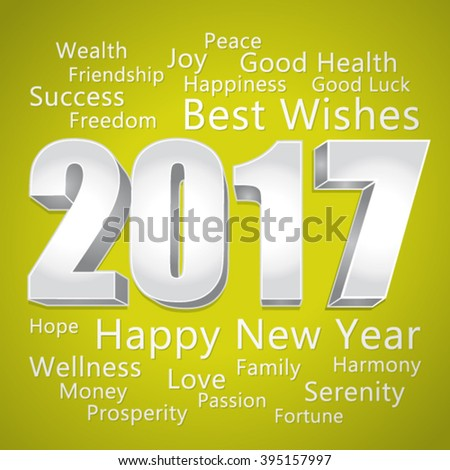 2017 Happy New Year. Best wishes. Green and silver vector greeting card.  - stock vector