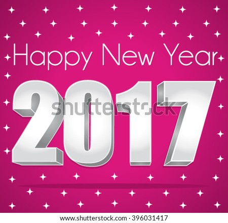 2017 Happy New Year. Best wishes. Pink and silver starry vector greeting card. - stock vector