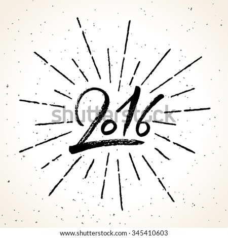 2016 Happy New Year brush calligraphy on grunge background with burst. Hand painted letters, vector illustration. - stock vector