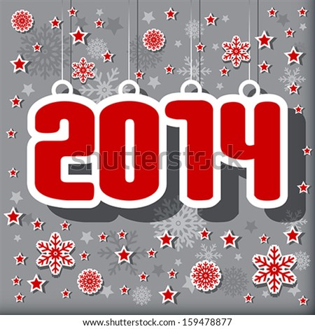 2014 Happy New Year card or background. Vector illustration. - stock vector