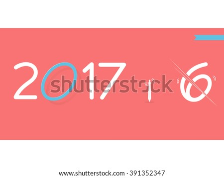 2017 Happy New Year creative design for your banners, greetings card, website - stock vector