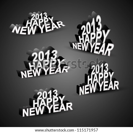 2013 Happy New Year font set vector - stock vector