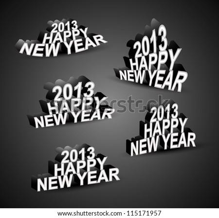 2013 Happy New Year font set vector - stock vector