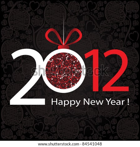 2012 Happy New Year greeting card or background. - stock vector