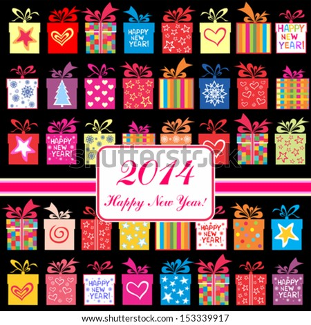 2014 Happy New Year greeting card or background. Vector illustration - stock vector