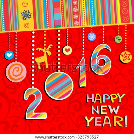 2016 Happy New Year greeting card or background. Vector illustration - stock vector