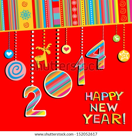 2014 Happy New Year greeting  red card or background. Vector illustration  - stock vector