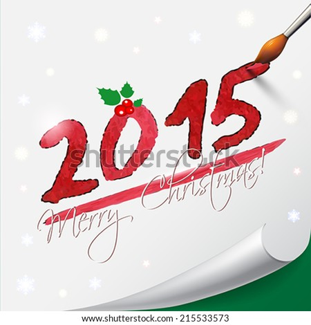 2015 Happy New Year hand lettering on  white background. Vector illustration. - stock vector