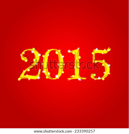 2015 Happy New Year sign with luminous garland, vector illustration - stock vector