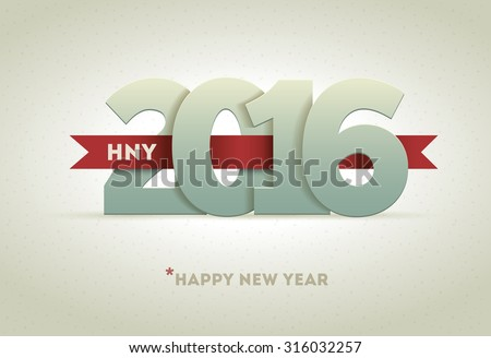 2016 Happy New Year. Vector greeting card design element. - stock vector
