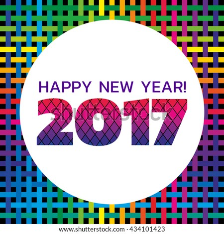 'Happy New Year' vibrant banner with a colorful geometric pattern; scalable vector graphic, with a place for text - stock vector