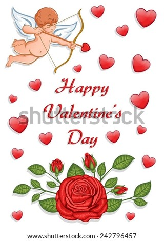 """""""Happy Valentine's Day"""" greeting card with a cupid and red roses. - stock vector"""