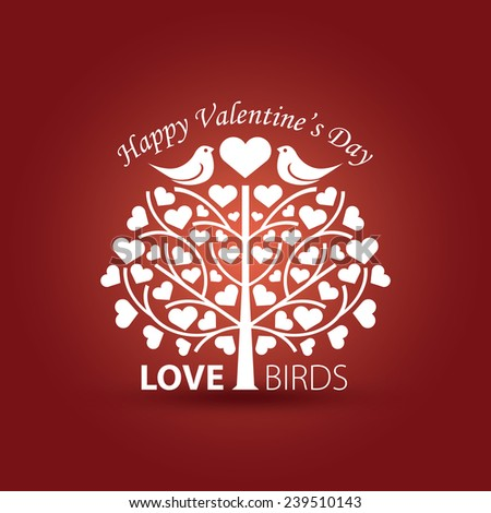 """Happy Valentine's Day"" vector illustration with love birds - stock vector"