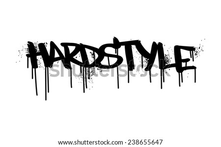 """HARDSTYLE"" industrial lettering in street graffiti style. Black text isolated on white background. - stock vector"