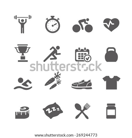 Health and Fitness icons  vector set icons with a stopwatch bodybuilder weights dumbbells heart with pulse trainer shoes bottled water  - stock vector
