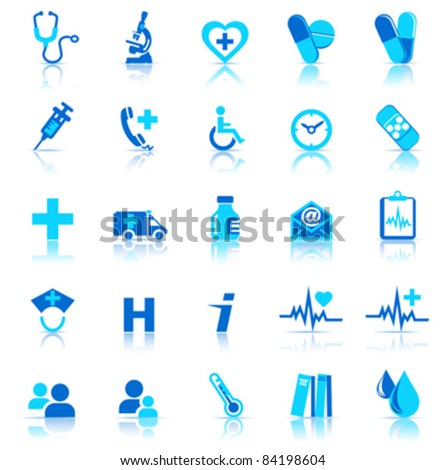 25 Health care Icons covering General Practice - stock vector