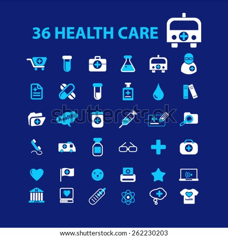 36 health care, medicine, hospital icons, signs, illustrations concept design set on background, vector - stock vector