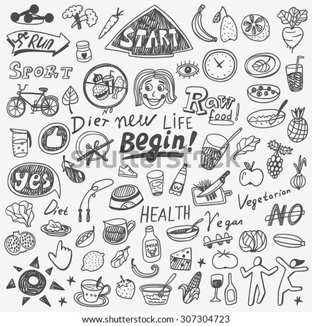 Health,food,diet - doodles set - stock vector