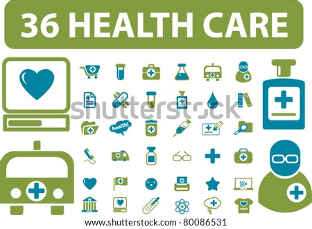 36 health & medicine icons, signs, vector illustrations - stock vector