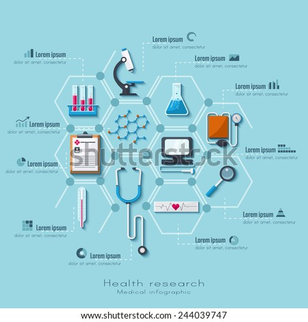 Healthcare and medical research infographic set. Flat style. - stock vector